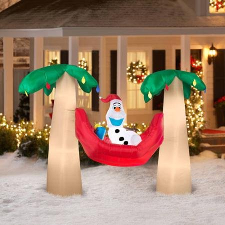 Airblown Inflatable Olaf in Hammock with Palm Trees Scene Disney Christmas Inflatable
