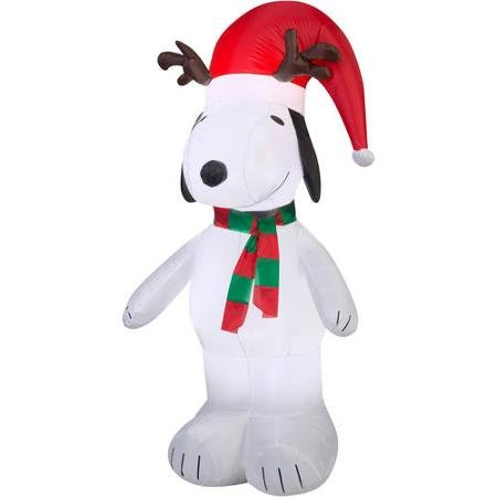 5′ Snoopy with Antlers and Santa Hat Christmas Inflatable